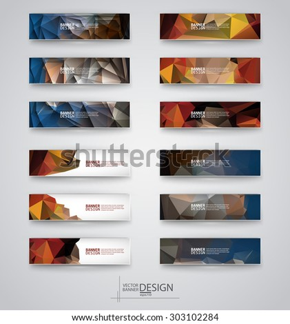 Color banners set with polygonal abstract shapes on gray background. Vector illustration. - stock vector