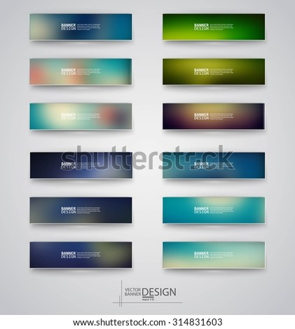 Color banners set with polygonal and blurry abstract shapes on gray background. Vector illustration.