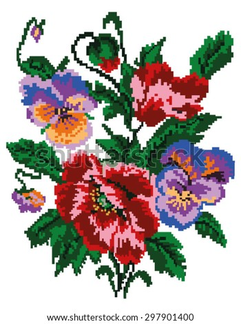 Color  bouquet of flowers (poppies and pansies) using traditional Ukrainian embroidery elements. Can be used as pixel-art.  - stock vector
