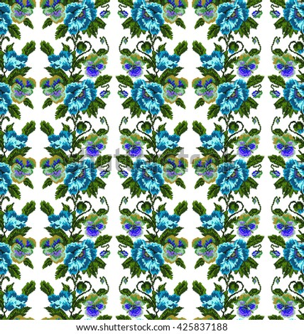 Color  bouquet of flowers (poppies and pansies) using traditional Ukrainian embroidery elements.Blue, dark blue,violet and green tones. Seamless pattern. Can be used as pixel-art.  - stock vector