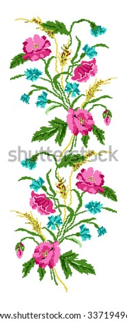 Color  bouquet of flowers (poppies,ears of wheat and cornflowers). Ukrainian embroidery elements. Hand made. Border pattern. Can be used as pixel-art.   - stock vector