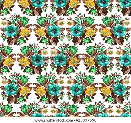 Color bouquet of wildflowers (lilia, bellflower, barberry flower and cornflowers)  using traditional Ukrainian embroidery elements.Yellow, blue, green, brown  tones.  Pixel-art. Seamless pattern. - stock vector