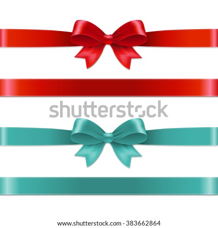 Color Bows Set With Gradient Mesh, Vector Illustration