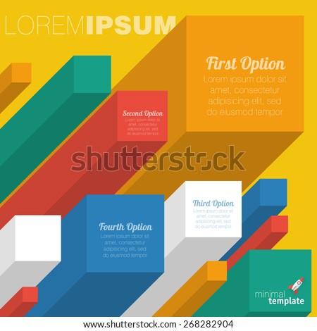 Color boxes. Infographic flat design minimslist chart vector design. - stock vector