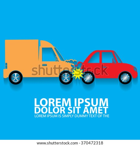 Color car crash accident in back side mode and vector style. - stock vector
