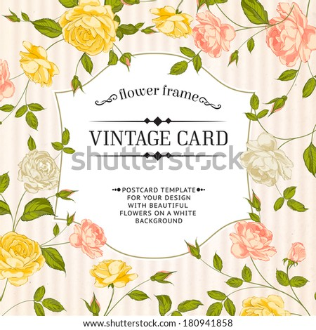 Color card with spring roses in vintage style. Vector illustration. - stock vector