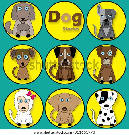 color cartoon dog icons and shadow in yellow circle. vector illustrator format.
