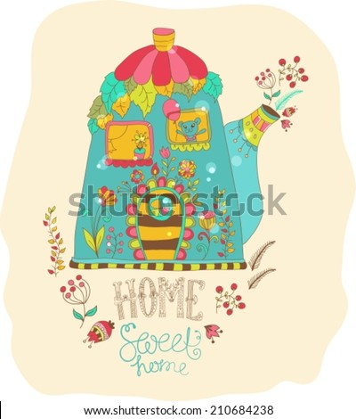 Color cartoon home in teapot with flowers, VECTOR - stock vector