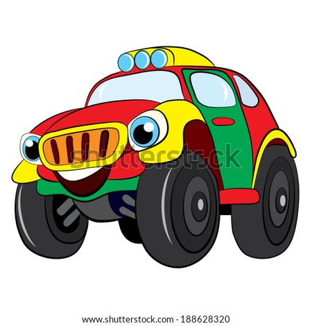 Color cartoon of merry car jeep.