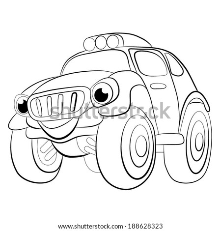 Color Cartoon Of Merry Car Jeep Coloring Book