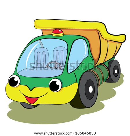 Color cartoon of merry car truck. White background.