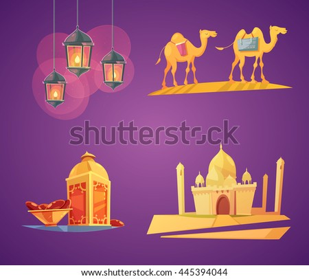 Color cartoon retro composition 2x2 with purple background depicting ramadan elements vector illustration - stock vector