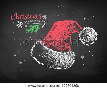 Color chalk vector sketch of red Santa Claus hat on black chalkboard background.  - stock vector