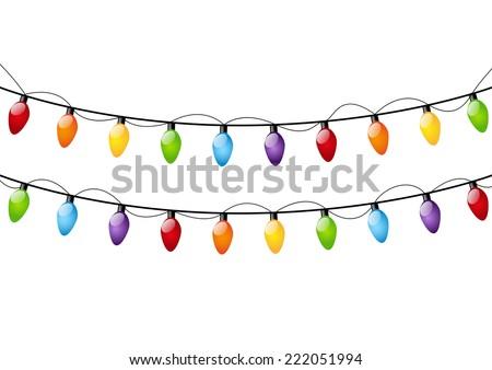 Color Christmas light bulbs on white - stock vector