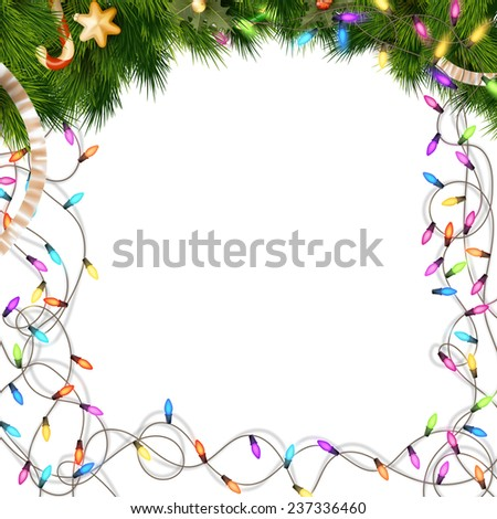 Color Christmas light bulbs on white. EPS 10 vector file included - stock vector