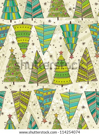color christmas trees on beije background, vector illustration - stock vector