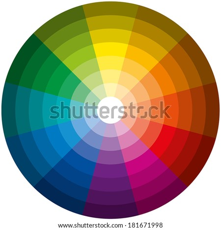 Color Circle Light Dark - Twelve basic colors in a circle, graduated from the brightest to the darkest gradation. Isolated vectors on white background. - stock vector