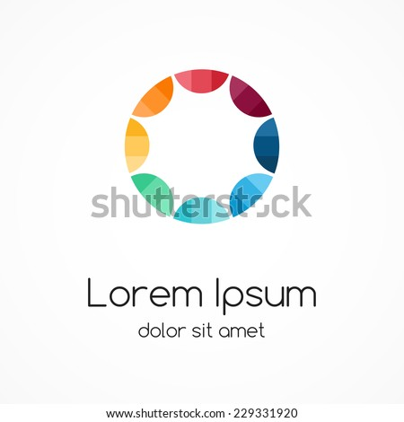 Color circle logo template. Abstract sign, symbol. Design element with 8 steps. - stock vector