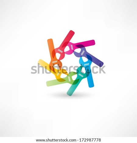 Color circle wrench icon - stock vector