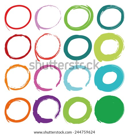 Color circles drawn with brush to highlight something. Stylish elements for design. Vector illustration. - stock vector