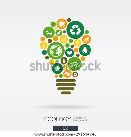 Color circles, flat icons in a bulb shape: ecology, earth, green, recycling, nature, eco car concepts. Abstract background with connected objects in integrated group of elements. Vector illustration. - stock vector