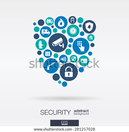 Color circles, flat icons in a shield shape: technology, guard, protection, safety, control concepts. Abstract background with connected objects in integrated group of elements. Vector illustration. - stock vector