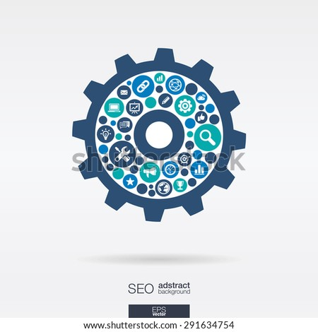 Color circles, flat icons in an cogwheel shape: technology, SEO, network, digital, analytics, data and market mechanism concepts. Abstract background with connected objects. Vector illustration. - stock vector