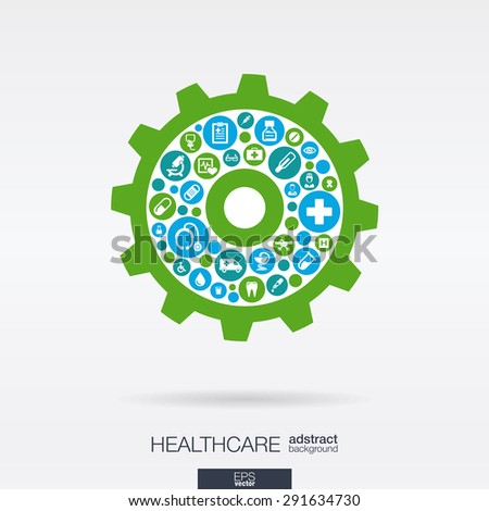 Color circles with flat icons in a cogwheel shape: medical, health, healthcare mechanism concepts. Abstract background with connected objects in integrated group of elements. Vector illustration. - stock vector