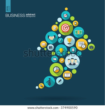Color circles with flat icons in an arrow up business, marketing research, strategy, mission, analytics concepts. Abstract background with connected objects. Vector interactive illustration.