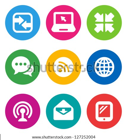color circular communication icons isolated on white background/ communication buttons - stock vector