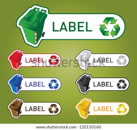Color coded recycle bins labels or signs - stock vector
