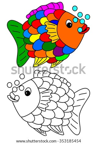 Color coloring book for young children - colorful fish - vector