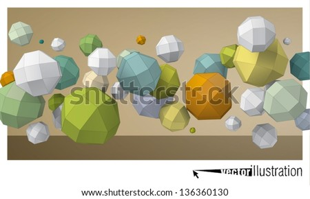 Color composition of flying rhombicuboctahedron for graphic design - stock vector