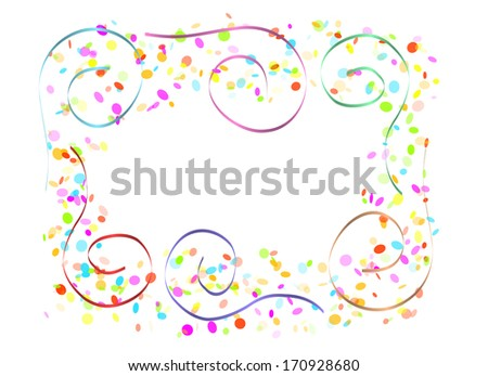 color confetti and spirals on white background