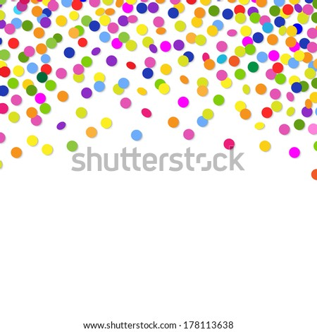Color Confetti Frame, With Gradient Mesh, Vector Illustration - stock vector