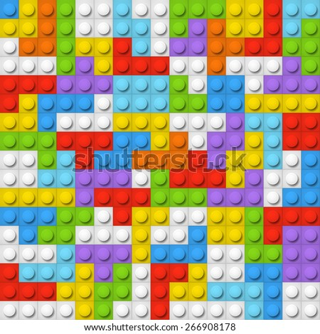 Color constructor blocks seamless background - stock vector