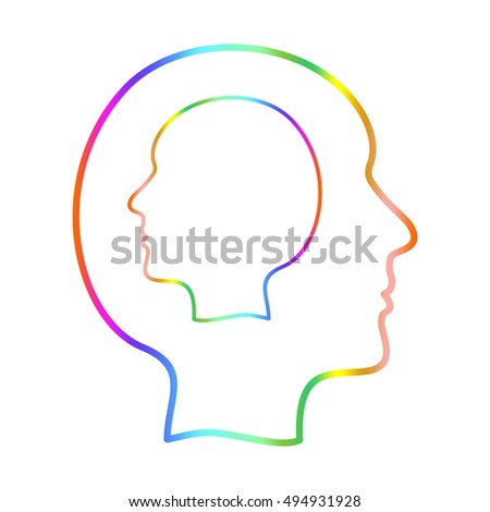 Color contour of the human head in profile in other human head on a white background.