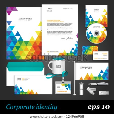 Color corporate identity template with triangles. Vector company style for brandbook and guideline. EPS 10 - stock vector
