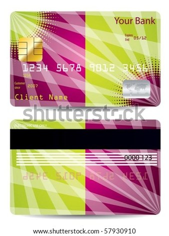Color credit card with abstract design - stock vector