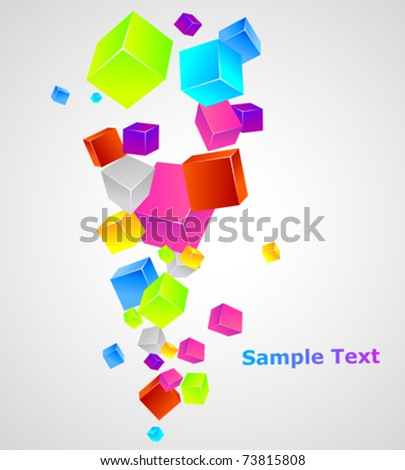 Color cubes. Vector template.
