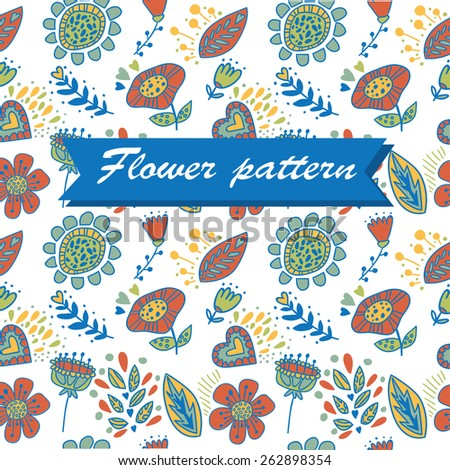 Color cute floral pattern. Ideal for fabric and wallpapers - stock vector
