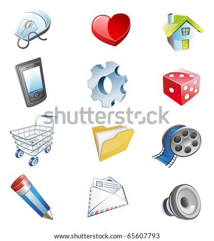 Color 3d web icons. Vector illustration - stock vector