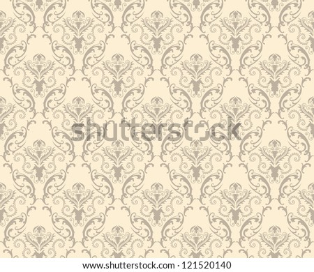 Color Damask Seamless Pattern.  Elegant Design in Royal  Baroque Style Background Texture. Floral and Swirl Element.  Ideal for Textile Print and Wallpapers. Vector Illustration.