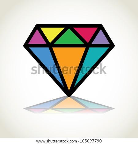 color diamond logo design - illustration - stock vector