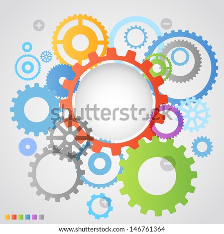 Color different gear wheels abstract background - stock vector