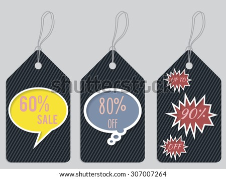 Color discount label set of three with speech bubbles - stock vector