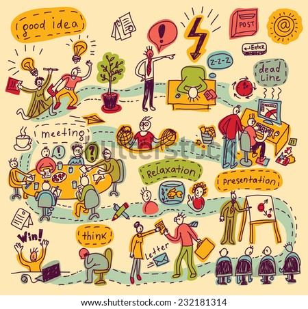 Color doodles people in office Color vector illustration - stock vector