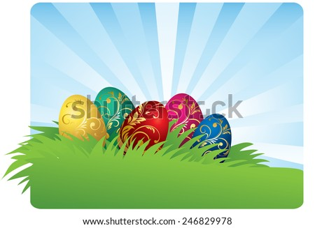 Color easter eggs background - stock vector