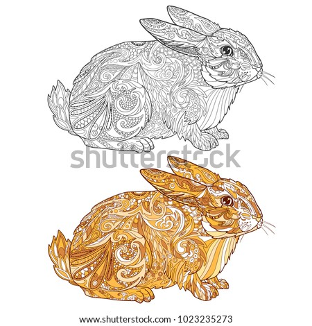 color easter rabbit sample rabbits coloring stock vector 1023235273