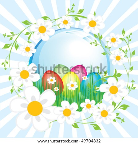 Color eggs in grass. Easter vector